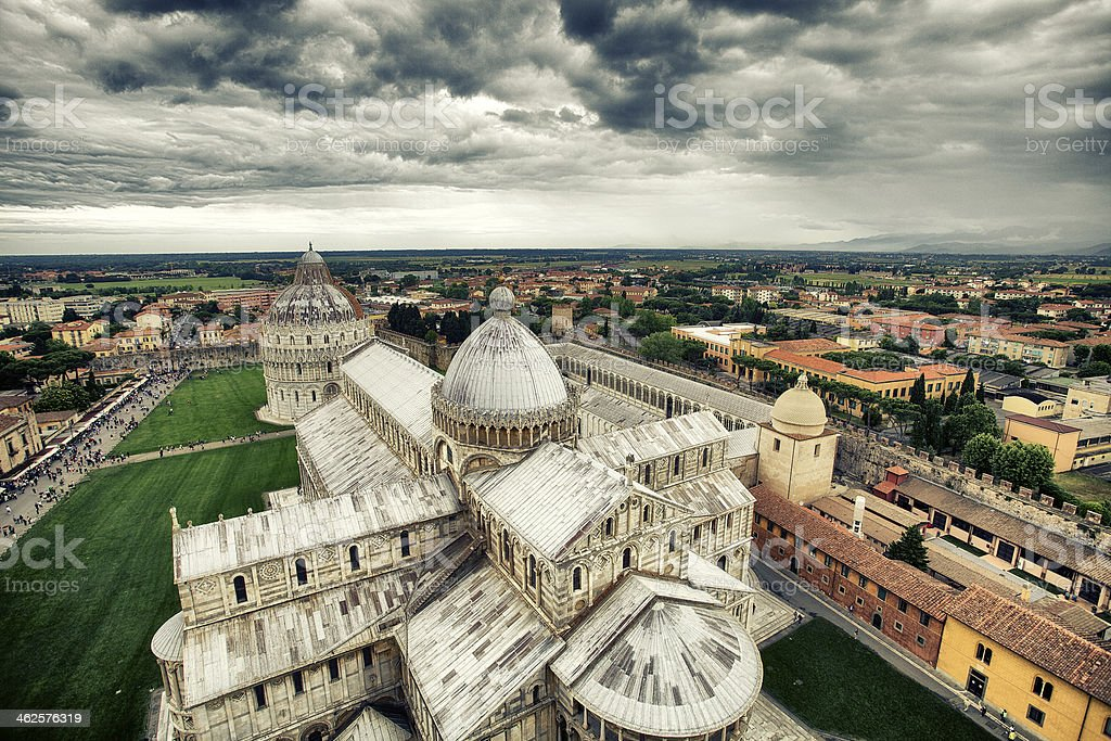 Panoramic photo of the Pisa cathedral. royalty-free stock photo