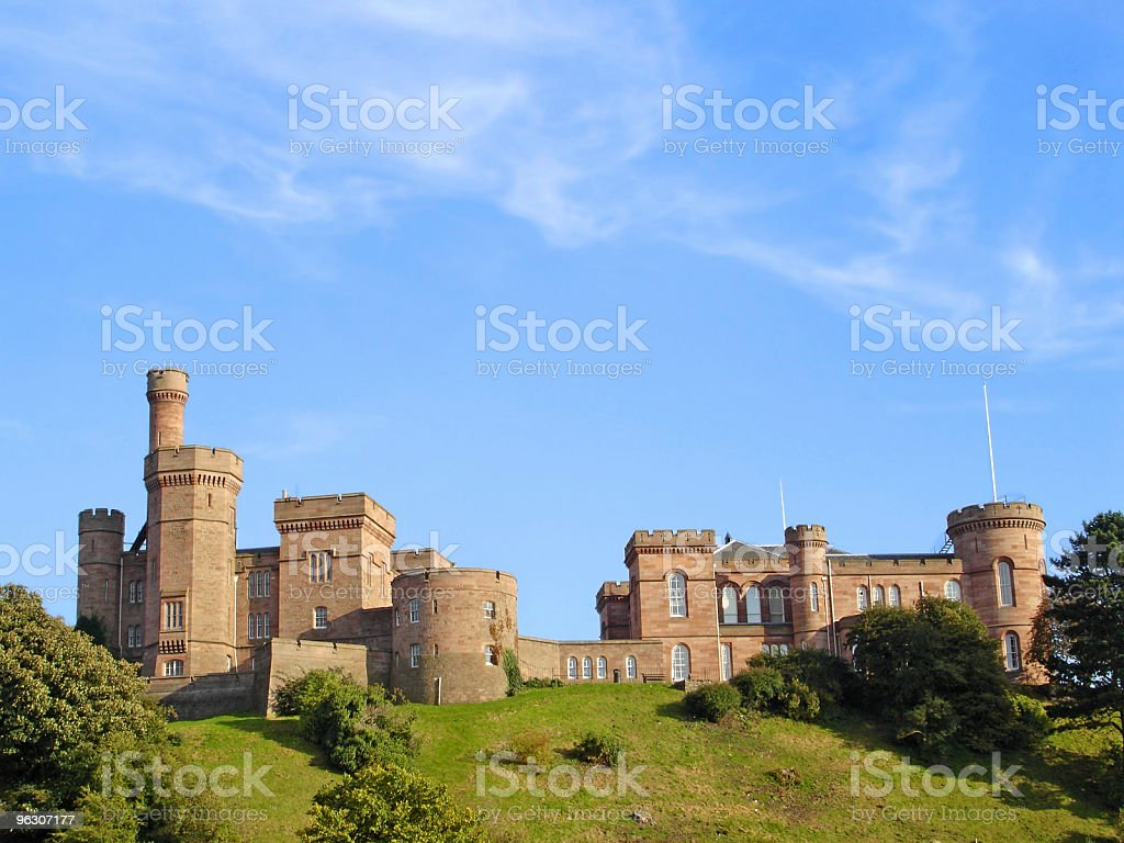 Panoramic photograph of a Scottish castle stock photo