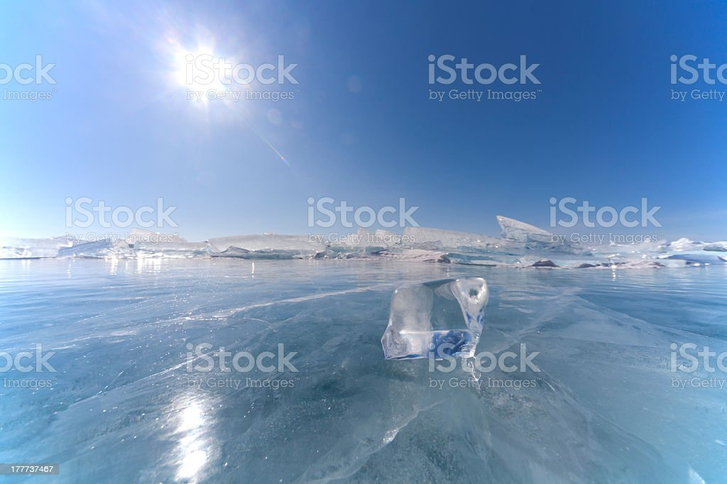Panoramic photograph of ice floes stock photo