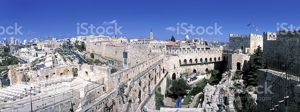 Panoramic photograph of Jerusalem stock photo