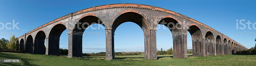 Panoramic photograph of the Welland Viaduct stock photo