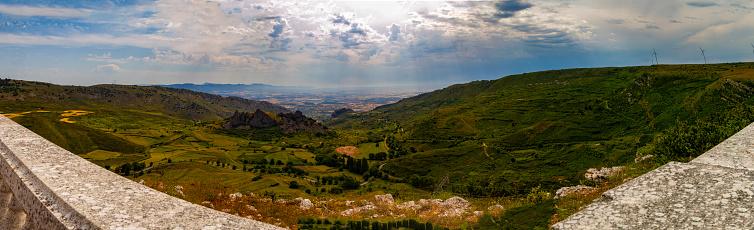 Panoramic photograph taken from the Bureba viewpoint in Poza de la Sal, Burgos Castilla y León (Spain), the birthplace of Félix Rodríguez de la Fuente