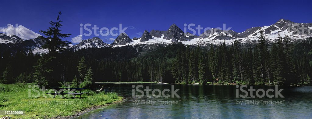 Panoramic Picnic table royalty-free stock photo