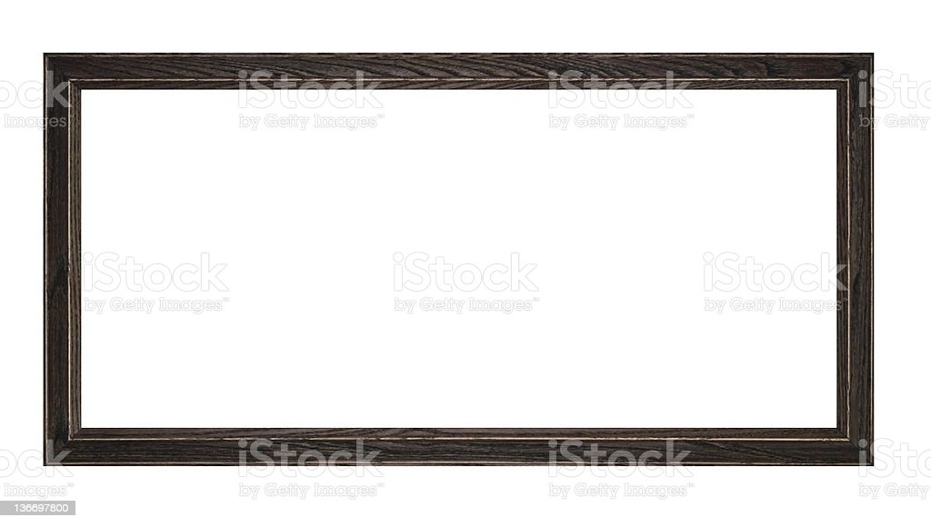 Panoramic Picture Frame in Black Rustic Wood, White Isolated stock photo