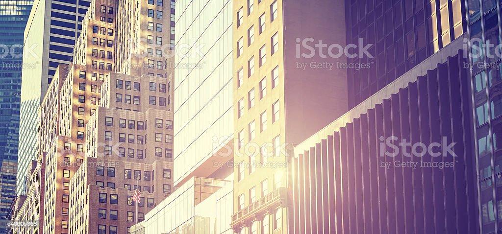 Imagem panorâmica de Manhattan prédios ao pôr-do-sol. - foto de acervo
