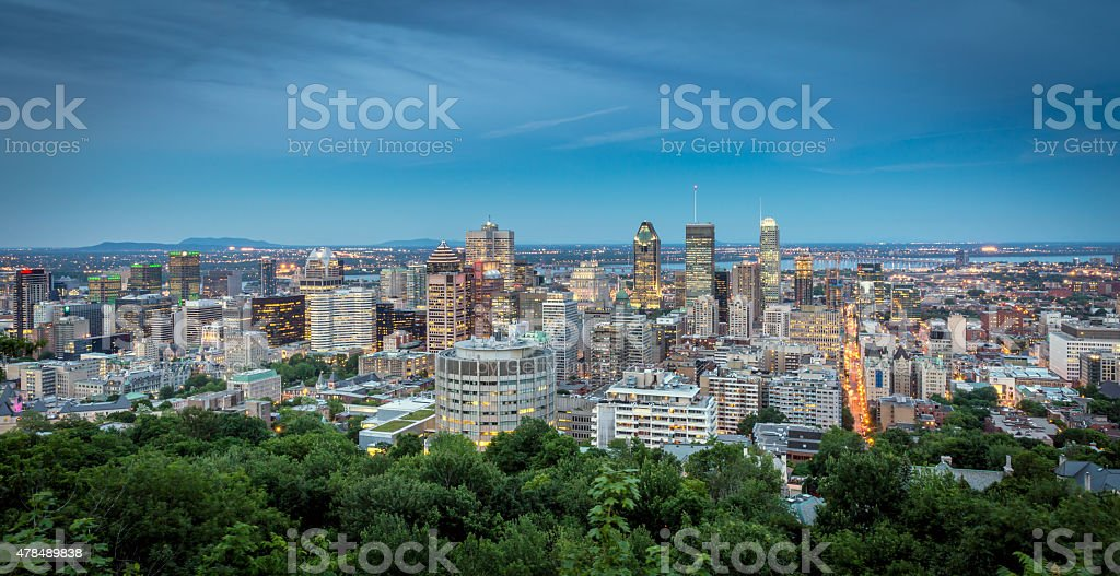 Panoramic picture of Montreal cityscape at sunset stock photo