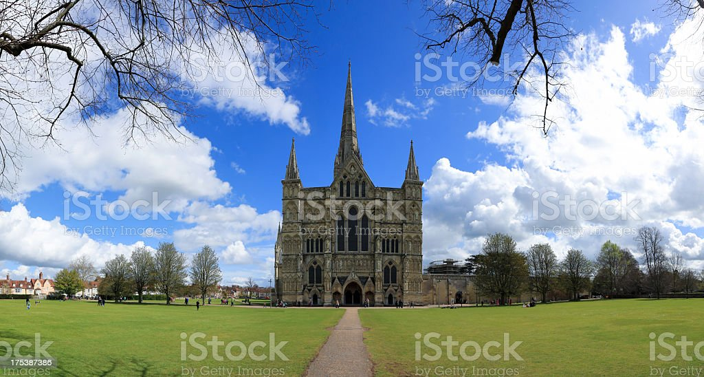 Panoramic picture of Salisbury Cathedral, UK stock photo