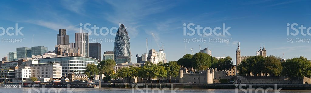A panoramic picture of the London skyline during the day royalty-free stock photo