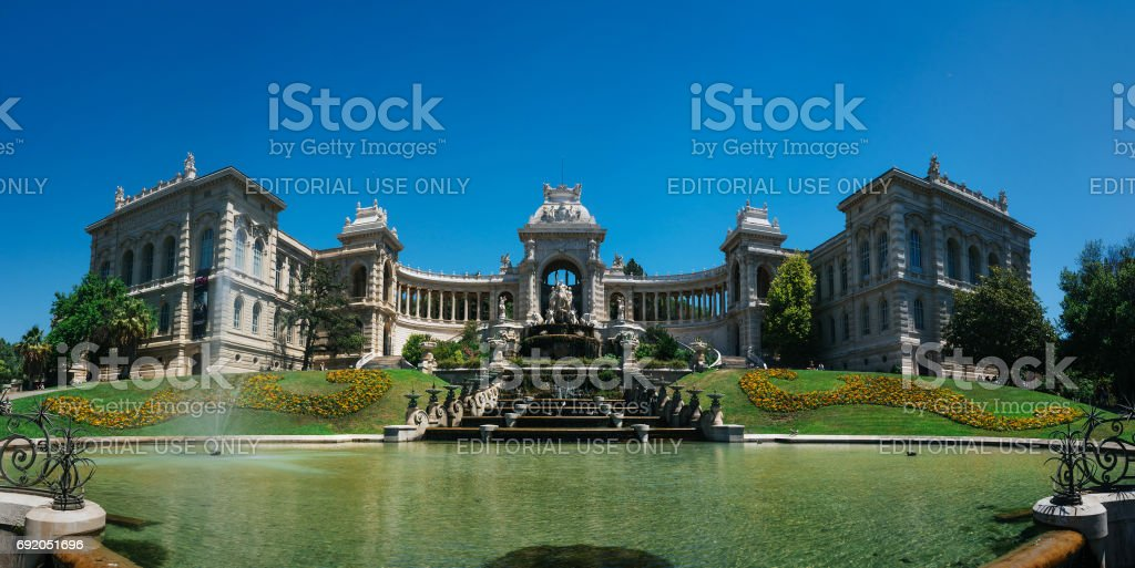MARSEILLE, FRANCE - JUNE 22, 2016: Panoramic picturesque view of Longchamp Palace with a cascading fountain. Beautiful travel postcard. stock photo