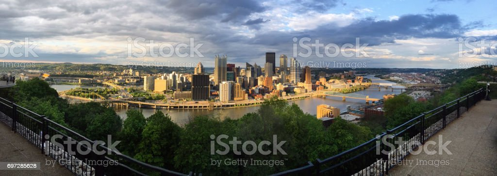 Panoramic Pittsburgh Pennsylvania Downtown City Skyline Three Rivers stock photo
