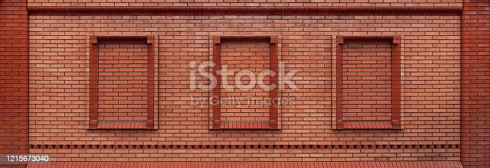panoramic red brick wall with window frames