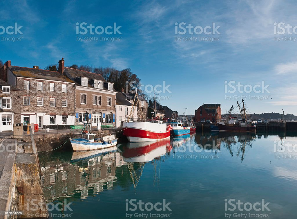 Panoramic river boat view of Padstow Harbor in Cornwall stock photo