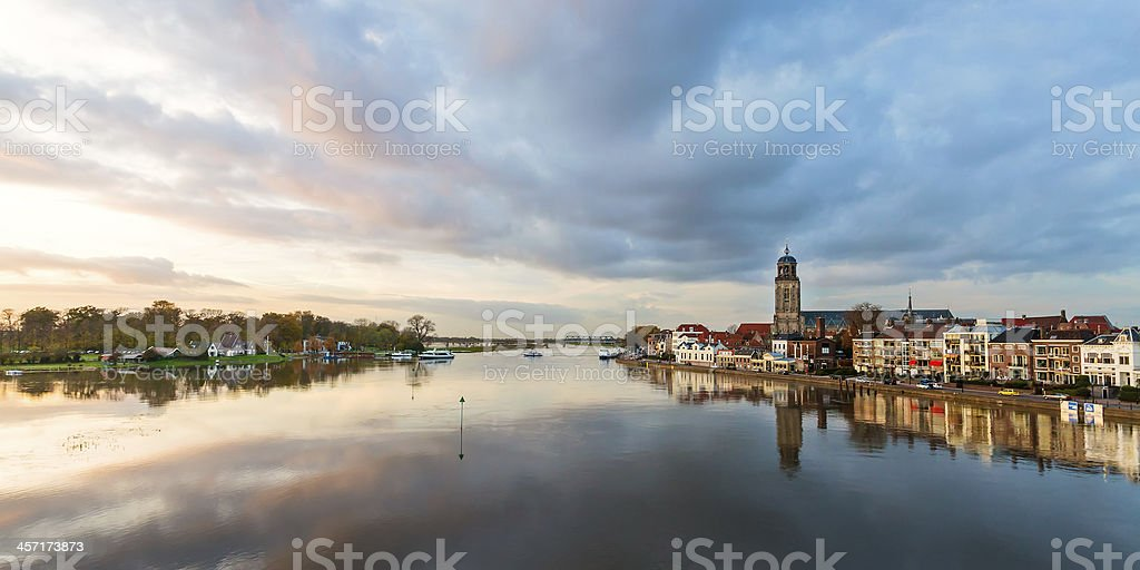 Panoramic river view of the Dutch historic city Deventer stock photo