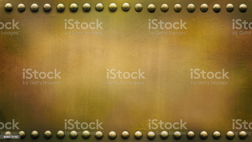 panoramic riveted military plate 2 stock photo