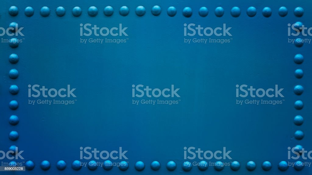 panoramic riveted plate  blue 2 stock photo