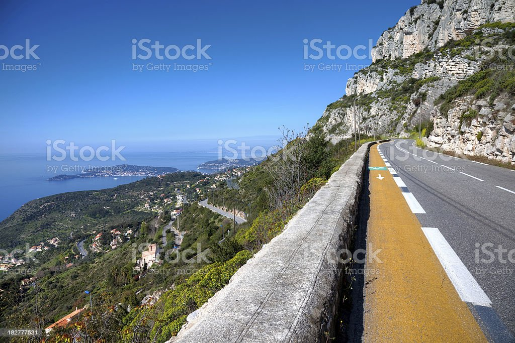 Panoramic road in south France stock photo