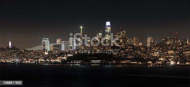 istock Panoramic San Francisco Skyline at Night 1088817832