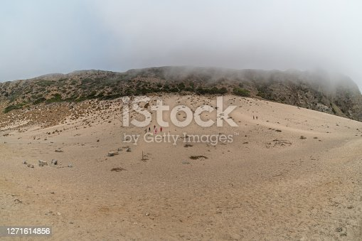 Panoramic Sandy Dune vista on a foggy day, Ventura County, Southern California