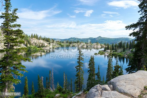This shot was taken above Lake Mary during the summer.  The shoreline is quite lush and green because of a wet winter and spring and wildflowers are in full bloom.  Patches of snow can still be scene on the sides of the surrounding mountains.  The water is very still and reflecting the sky like a mirror.