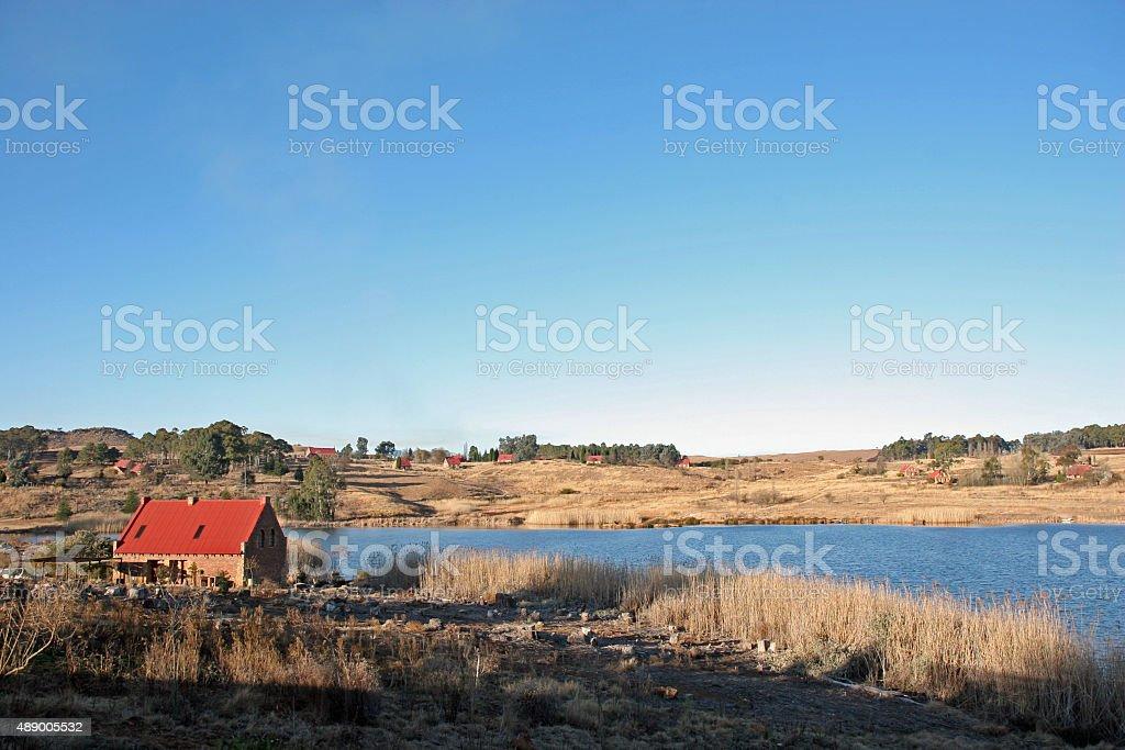 Panoramic scene over dam at Millstream stock photo