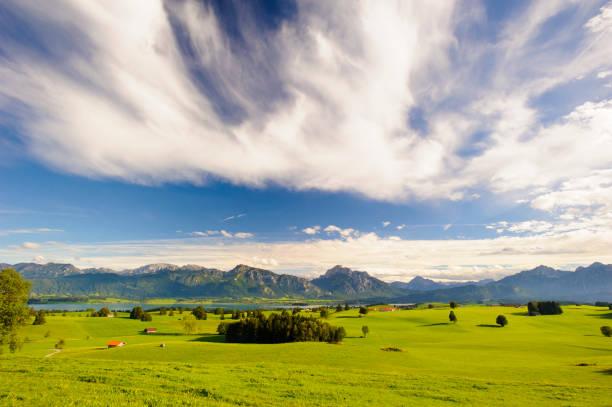 panorama-szene mit see forggensee und gebirge in der region allgäu in bayern - allgäu stock-fotos und bilder