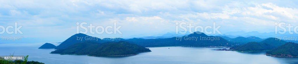 Panoramic scenery of Srinagarind Reservoir or Srinakharin dam , Kanchanaburi Province , Thailand stock photo