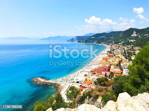 istock Panoramic sea coast view from the top of the mountain. Sea landscape with a small town and pier 1156786008