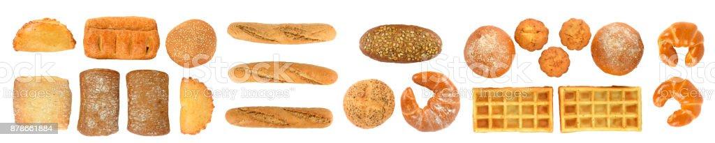 Ensemble panoramique de pain frais produits - Photo