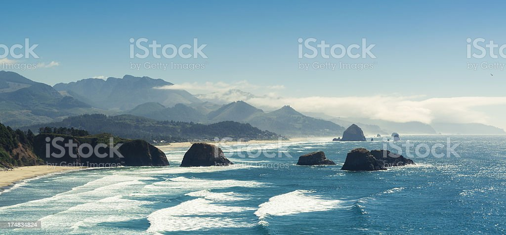 Panoramic Shot of Cannon Beach, Oregon stock photo