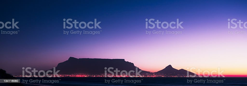 Panoramic shot of Cape Town and Table Mountain by night stock photo