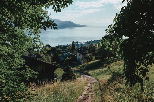 Panoramic shot of Geneva lake Leman and village of Clarens