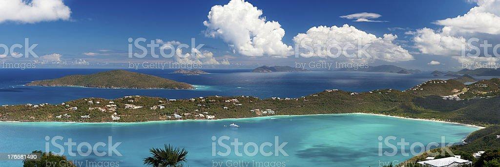 panoramic shot of Magens Bay, St. Thomas, US Virgin Islands stock photo