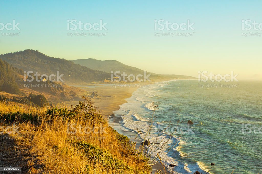 Panoramic Shot of Pacific Coast, Oregon stock photo