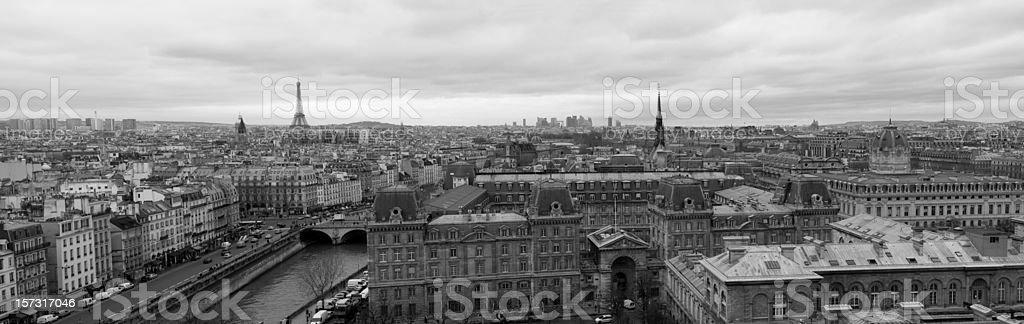 Panoramic shot of Paris (XXXL) royalty-free stock photo