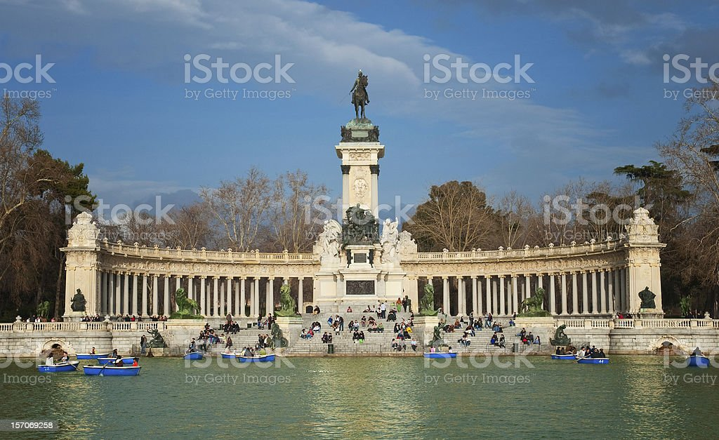 Panoramic shot of Parque del Retiro stock photo