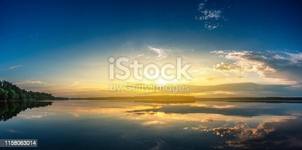 Panoramic shot of sunrise over lake