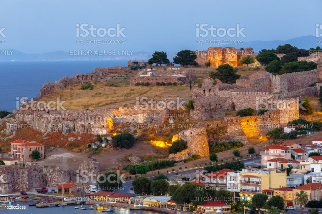 Panoramic Shot Of The Castle Of Mytilene In Lesvos Island Greece In