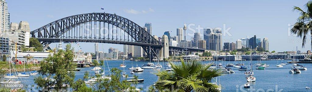 Panoramic shot of the Sydney skyline and Harbor Bridge royalty-free stock photo