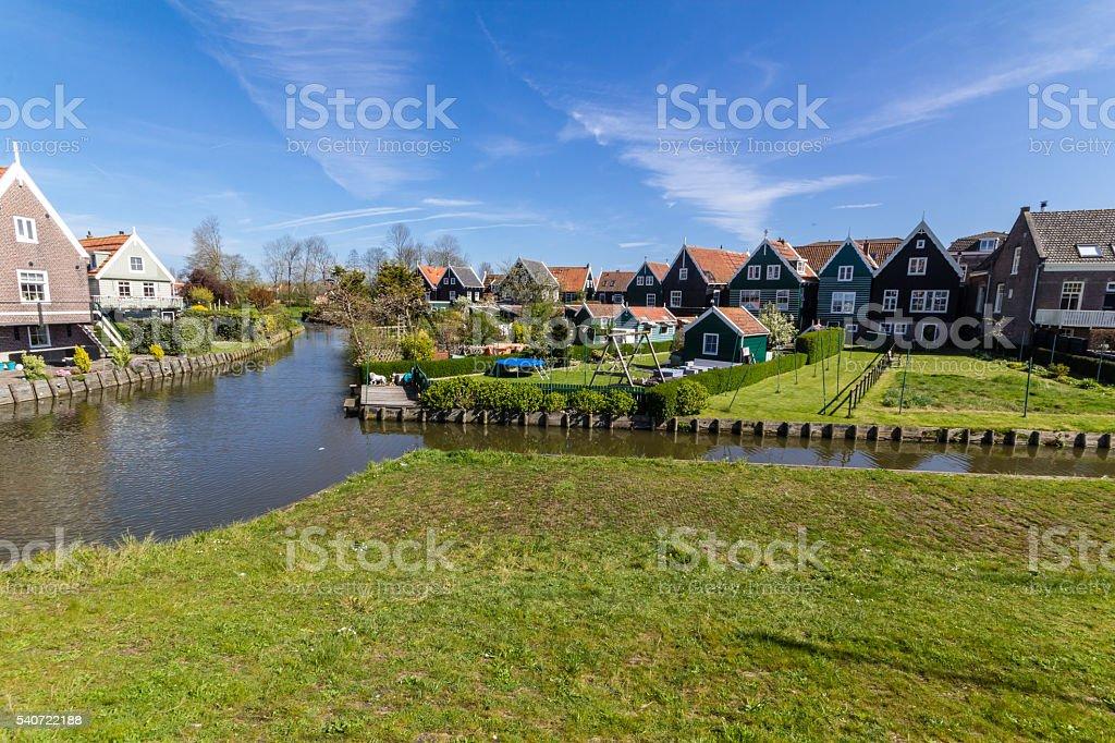 Panoramic shot of village Marken in Netherlands stock photo