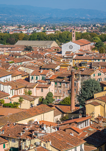 istock Panoramic sight in Lucca with San Francesco Church. Tuscany, Italy. 1098053670