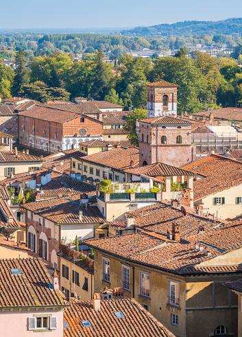 istock Panoramic sight in Lucca with Santa Maria Forisportamth Church. Tuscany, Italy. 1098054774