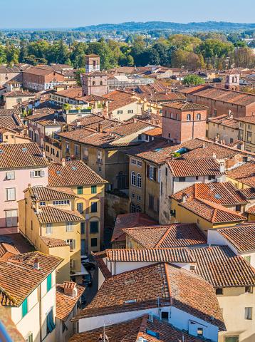 istock Panoramic sight in Lucca with Santa Maria Forisportamth Church. Tuscany, Italy. 1098056984