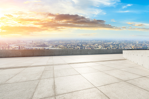 693903950 istock photo Panoramic skyline and buildings with empty city square floor 1048561734