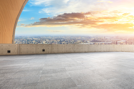 693903950 istock photo Panoramic skyline and buildings with empty city square floor 1048561766