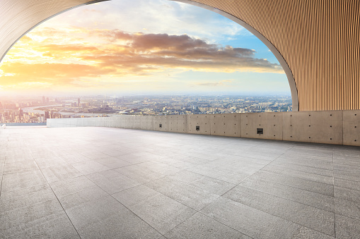 693903950 istock photo Panoramic skyline and buildings with empty city square floor 1048561800