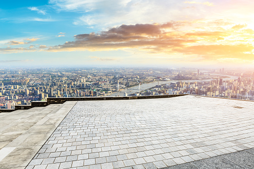 693903950 istock photo Panoramic skyline and buildings with empty city square floor 1048561834