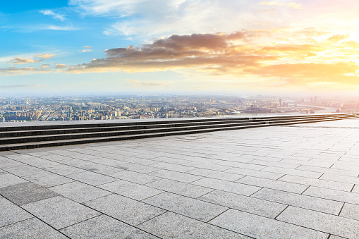 693903950 istock photo Panoramic skyline and buildings with empty city square floor 1048561928