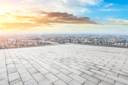 693903950 istock photo Panoramic skyline and buildings with empty city square floor 1048561934