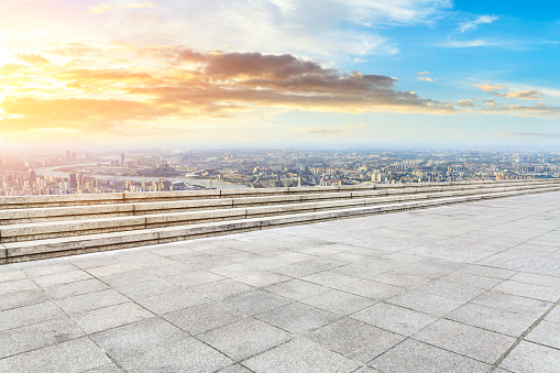 693903950 istock photo Panoramic skyline and buildings with empty city square floor 1048562146