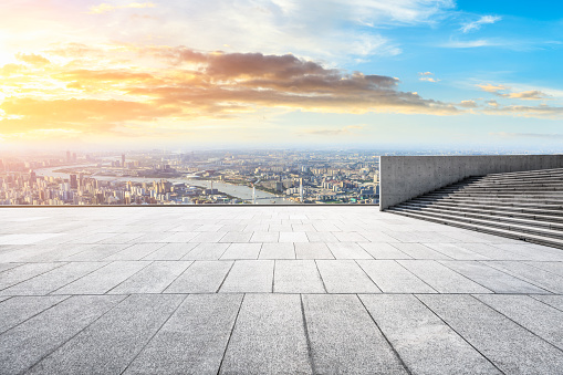693903950 istock photo Panoramic skyline and buildings with empty city square floor 1048562456